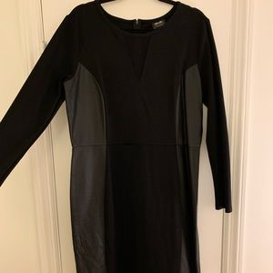 Dresses & Skirts - Leather panel and mesh long sleeve dress